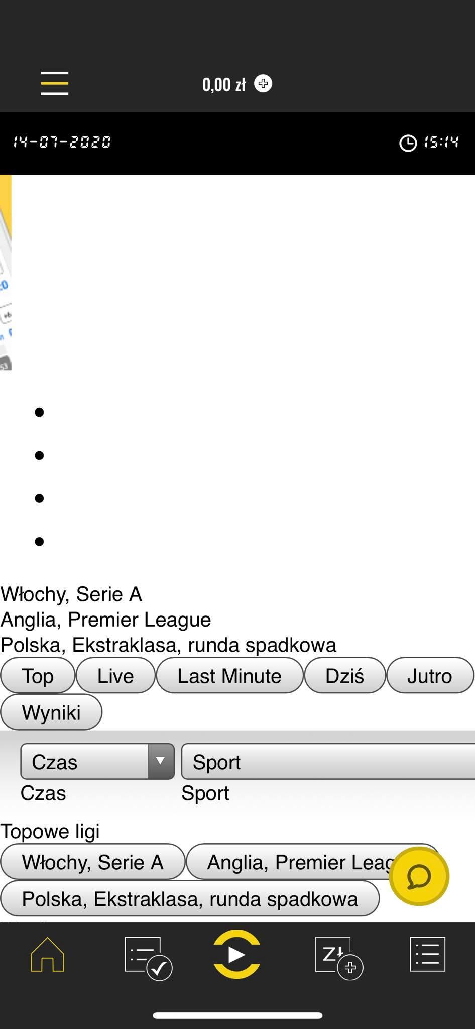 screen shot aplikacji bukmacherskiej totolotek