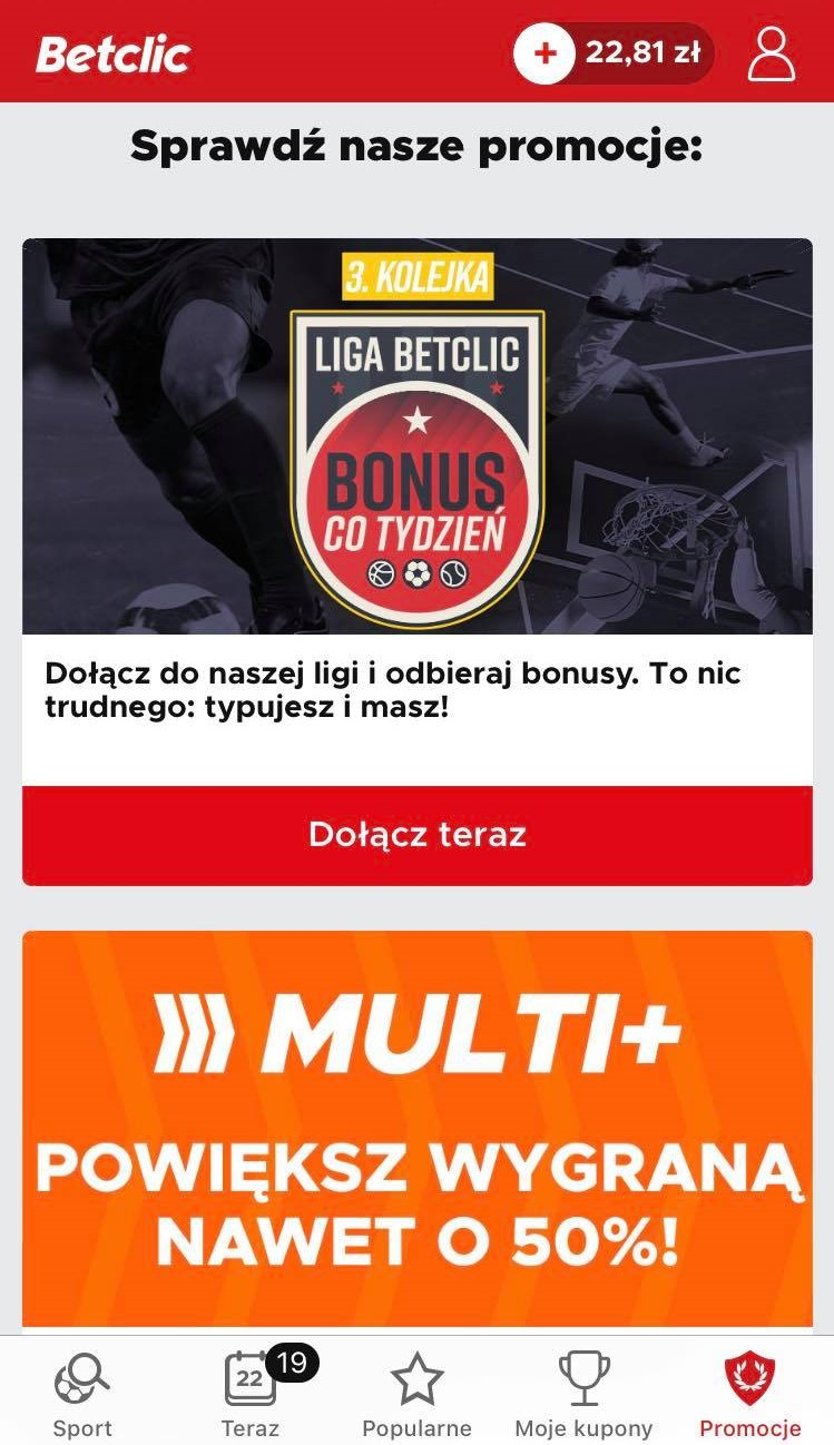 bonusy w aplikacji mobilnej Betclic