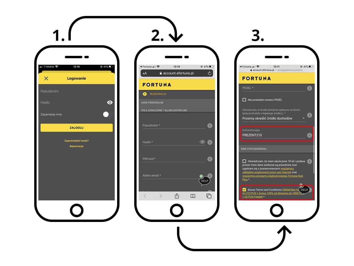 rejestracja fortuna - proces rejestracji u bukmachera fortuna z aplikacji mobilnej