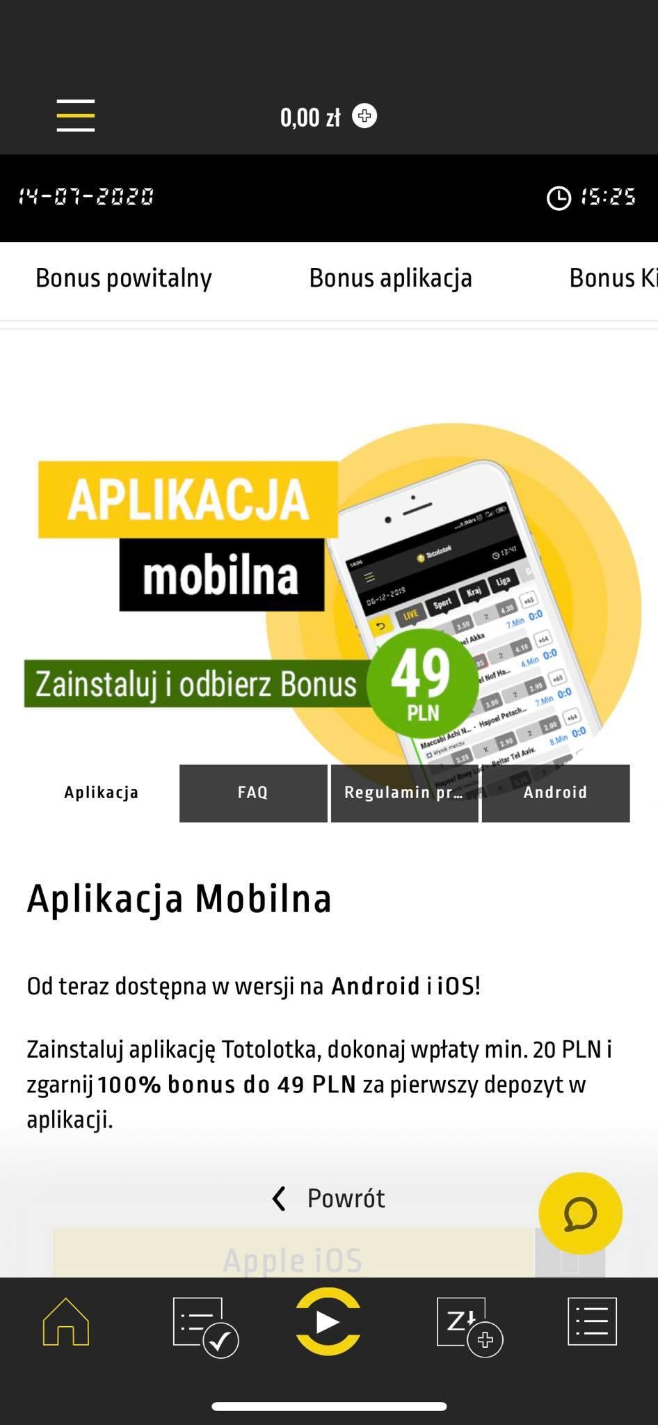 screen shot ekranu z aplikacji mobilnej totolotek