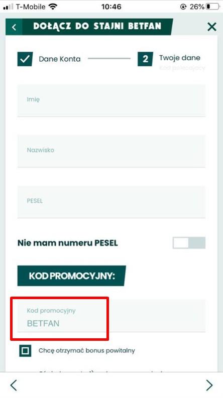 kod promocyjny BETFAN w aplikacji mobilnej BETFAN